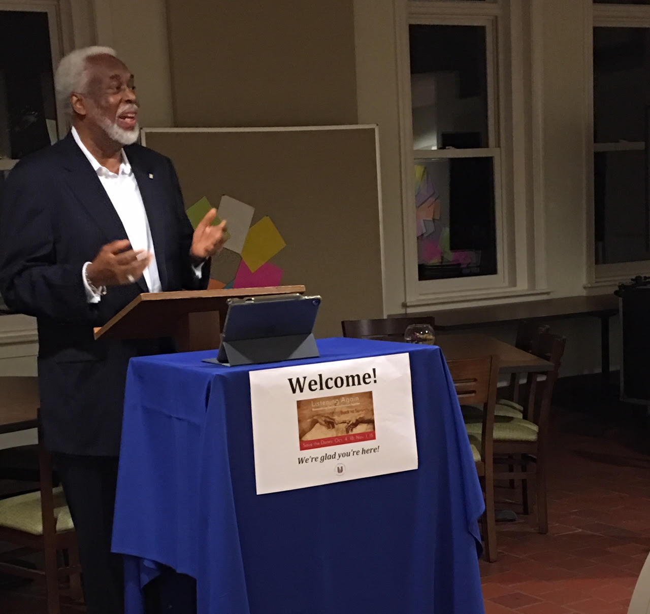 Dr. Leonard Edloe speaks at a Dismantling Racism Ministries event about building community in the face of deep wounds to common humanity and connection to God's creation.
