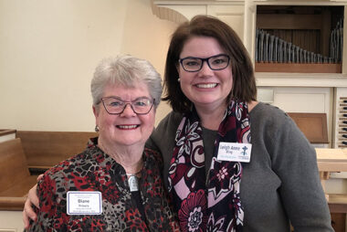 Rev. Diane Prevary, 2019 moderator, and Leigh Anne Ring, 2020 moderator